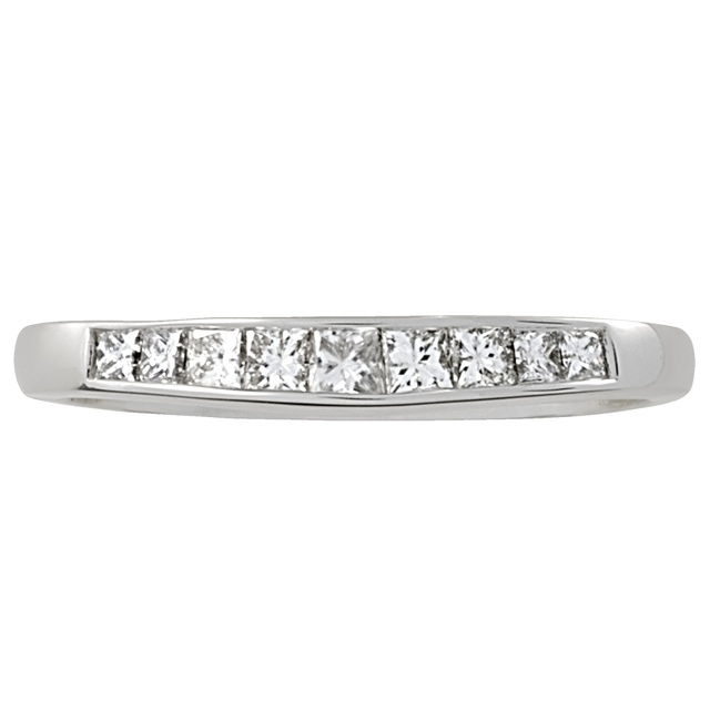 Princess Cut Channel Set Curved Wedding Ring