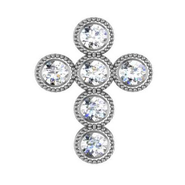 6 Diamond Milgrain Cross