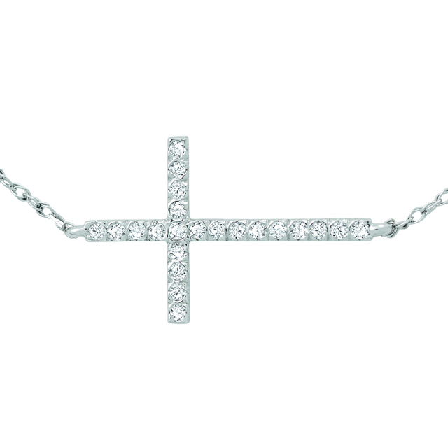 Sideways Diamond Cross with Single Cut Diamonds