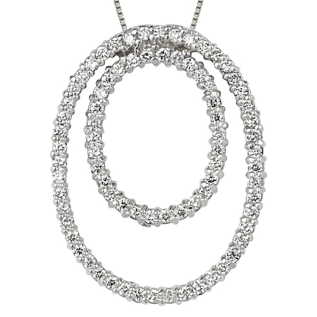 Double Vertical Diamond Oval Pendant