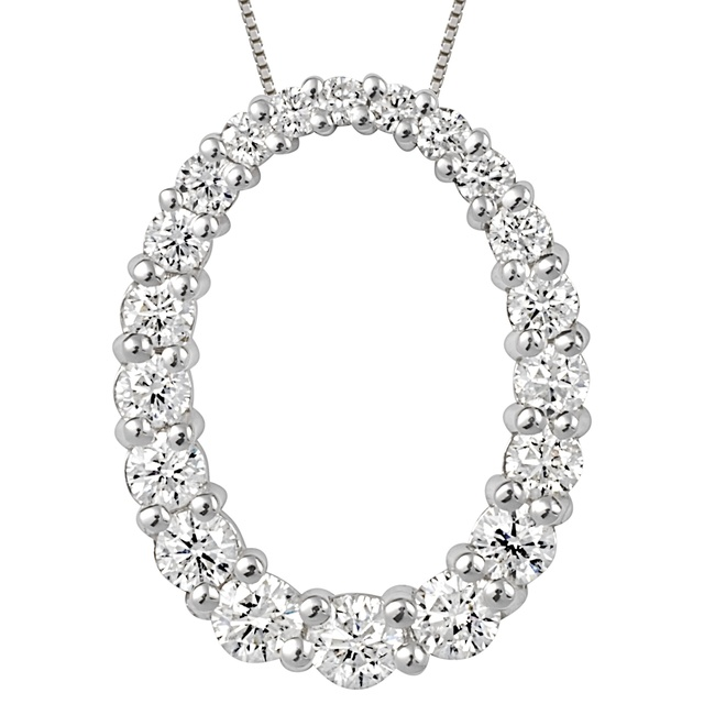 Oval Diamond Pendant with Graduated Diamonds