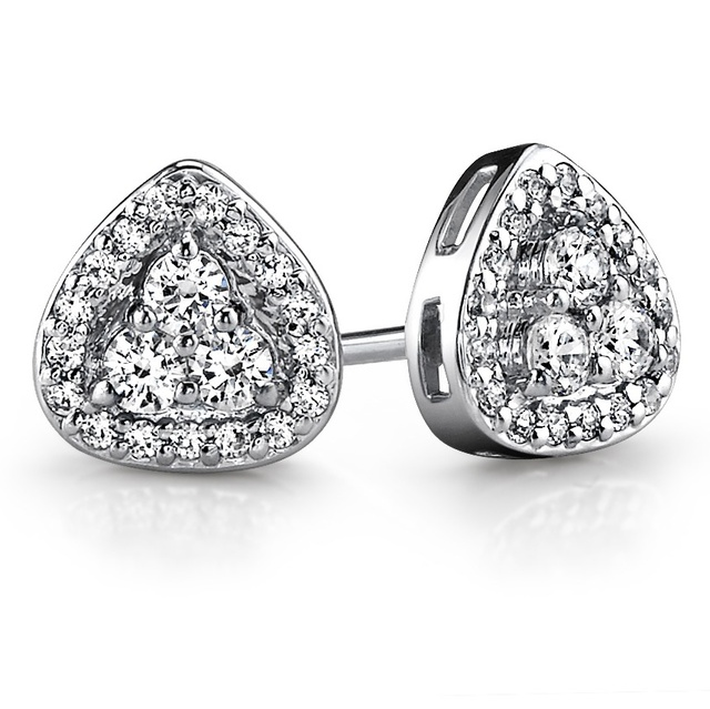 DIAMOND HALO EARRINGS WITH THREE DIAMOND CENTER