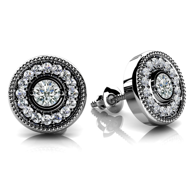 DIAMOND HALO MILGRAIN EARRINGS WITH BEZEL SET CENTER DIAMONDS