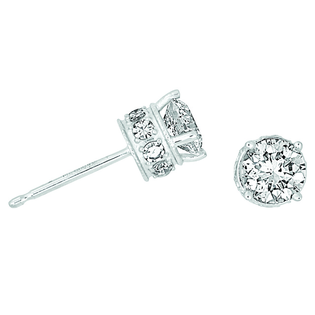 Diamond Stud Earring with Melee Diamonds on Side