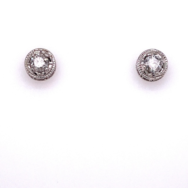 DIAMOND STUD EARRINGS WITH ACCENT MELEE