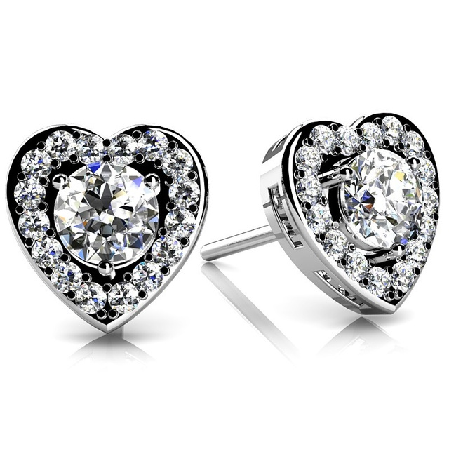 DIAMOND HEART HALO EARRINGS