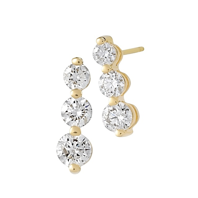 Three Stone Diamond Shared Prong Earrings