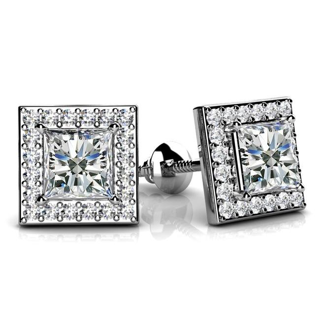 DIAMOND HALO PRINCESS CUT EARRINGS