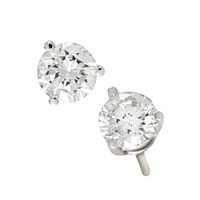 3 Prong Round Diamond Earrings