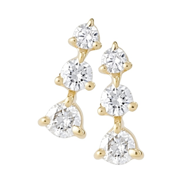 Three Prong Three Stone Diamond Earrings