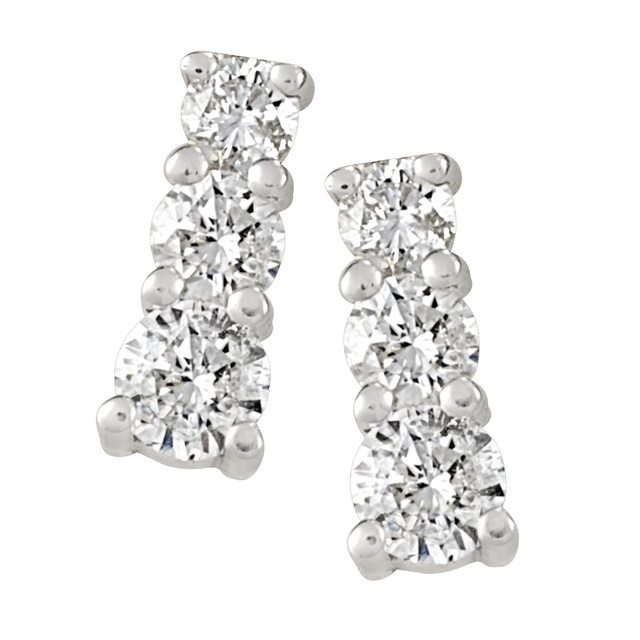 Four Prong Three Stone Diamond Earrings