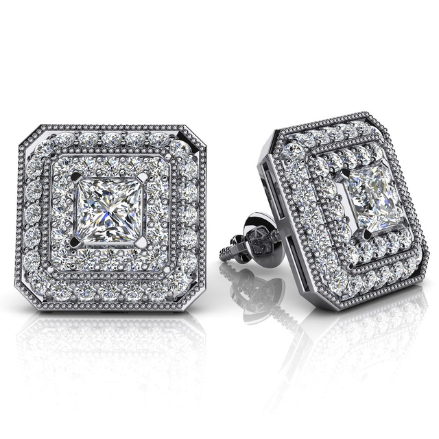 PRINCESS CUT DIAMOND HALO EARRINGS