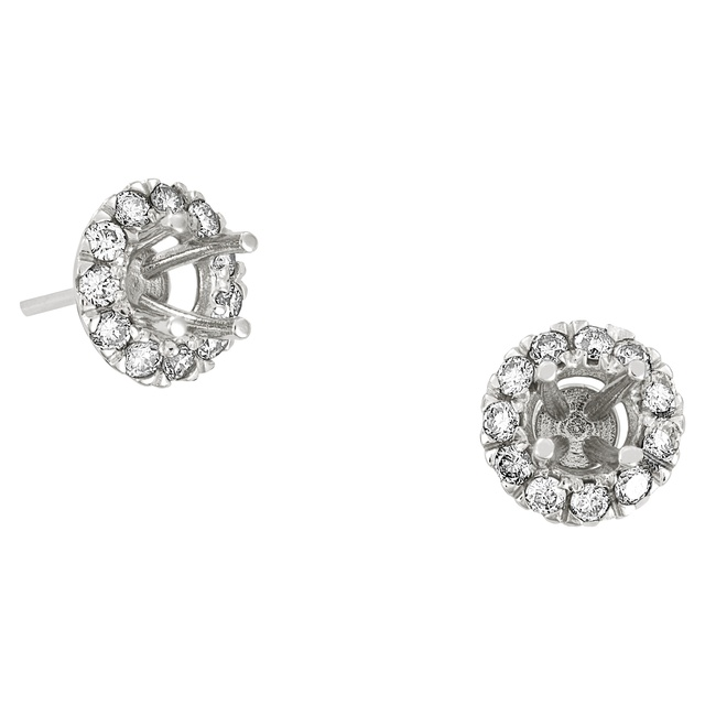 DIAMOND HALO EARRINGS SEMI MOUNT