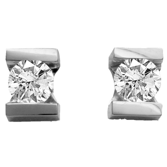 Bar Set Round Diamond Earrings