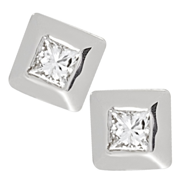 Bezel Set Princess Cut Diamond Earrings