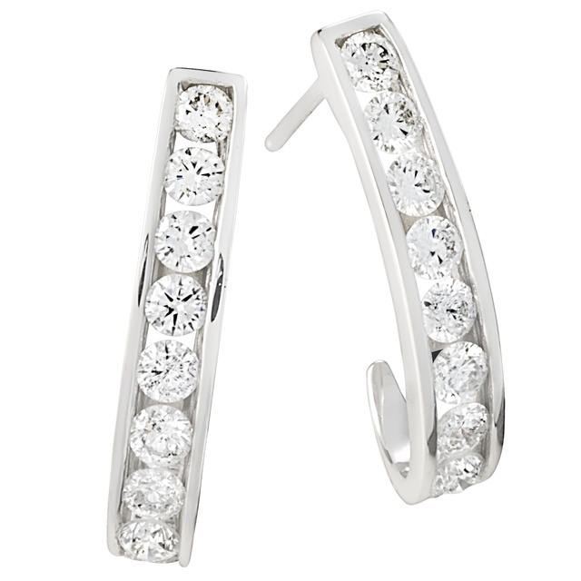 J Hoop Channel Diamond Earrings