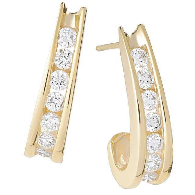 J Hoop Flared Channel Diamond Earrings