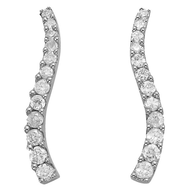 4 Prong Curved Journey Diamond Earrings