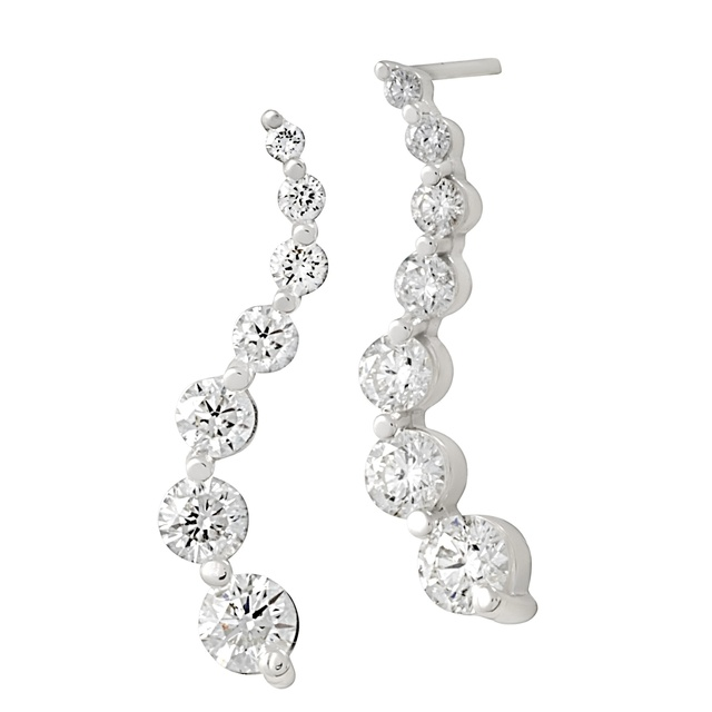 14 Diamond Curved Journey Earrings