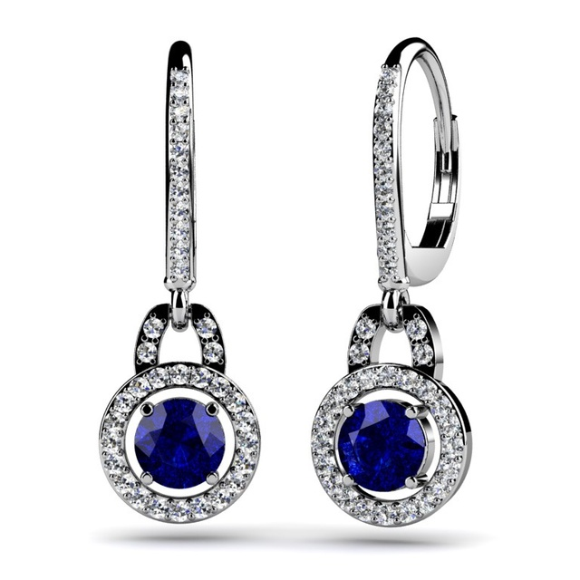 Dangle Diamond Earrings with Sapphire Center