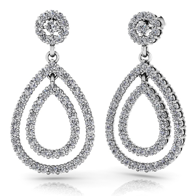Diamond Dangle Pear Shaped Earrings