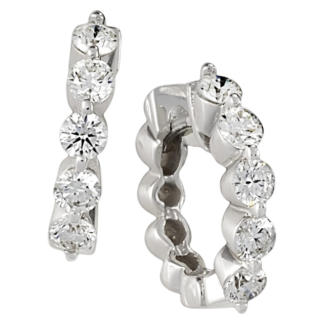 5 Diamond 2 Prong Huggie Earrings