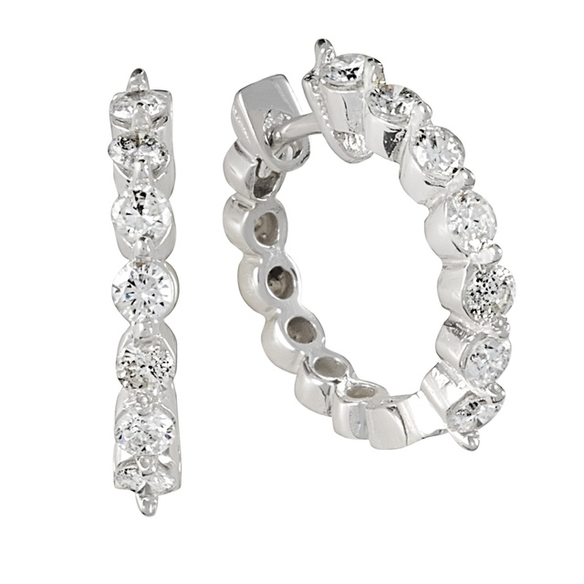 7 Diamond 2 Prong Huggie Earrings