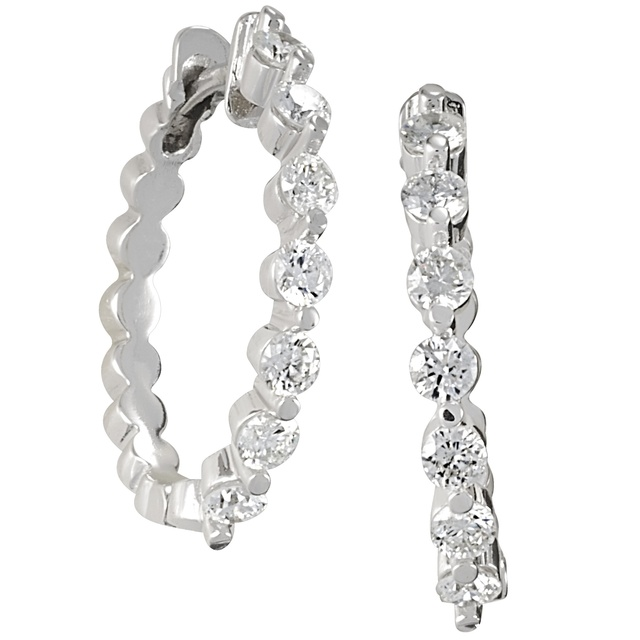 7 Diamond 2 Prong Oval Shaped Huggie Earrings