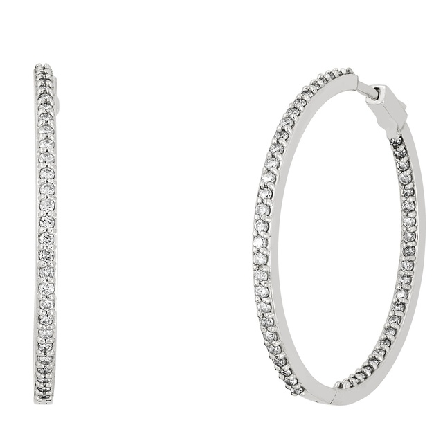 4 Prong Inside Outside Diamond Huggie Earrings