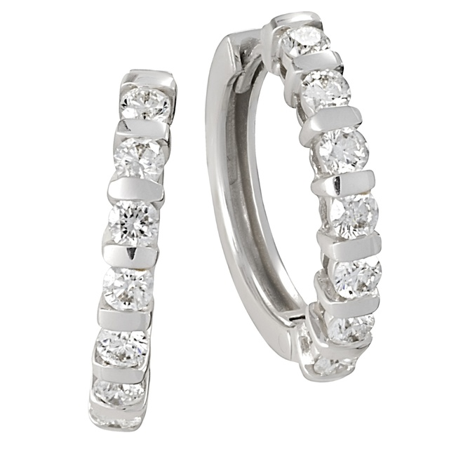 7 Diamond Bar Set Huggie Earrings