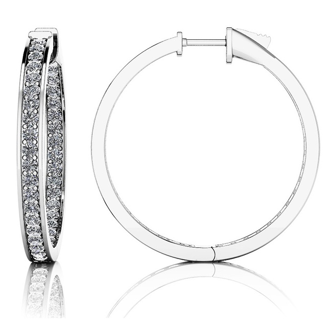 MOCK CHANNEL DIAMOND INSIDE OUTSIDE HUGGIE EARRINGS
