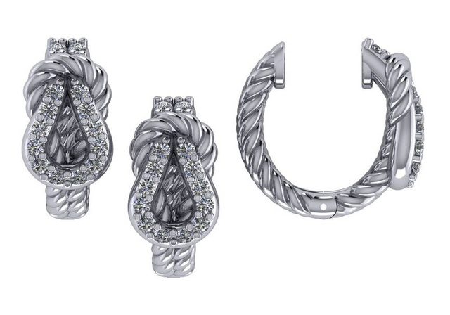 DIAMOND LOVE KNOT HUGGIE EARRINGS