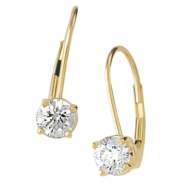 4 Prong Round Diamond Leverback Earrings