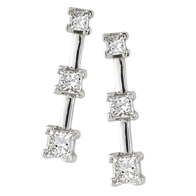 Three Stone Princess Cut Diamond Earrings