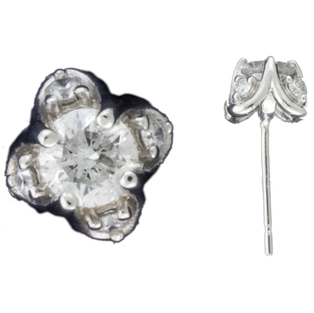 Lucida Round Diamond Stud Earrings With Small Accent Diamonds
