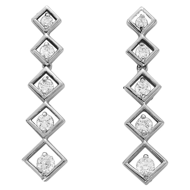 Square Shaped Diamond Journey Earrings
