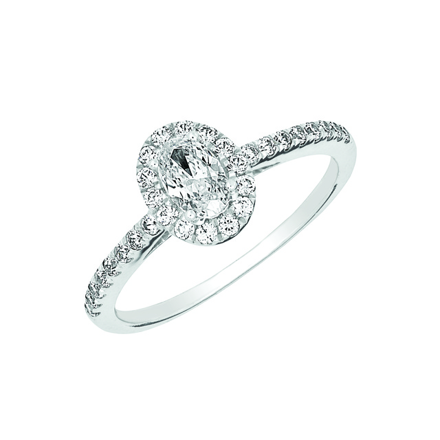 DIAMOND HALO RING WITH OVAL SHAPED CENTER DIAMOND