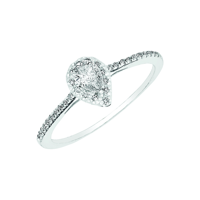 DIAMOND HALO ENGAGEMENT RING WITH PEAR SHAPED CENTER