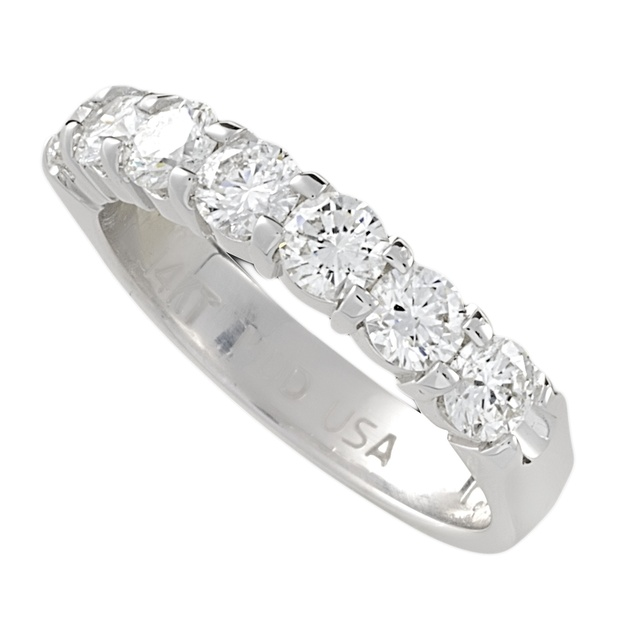 Machine Set 2 Prong 7 Diamond Wedding Ring