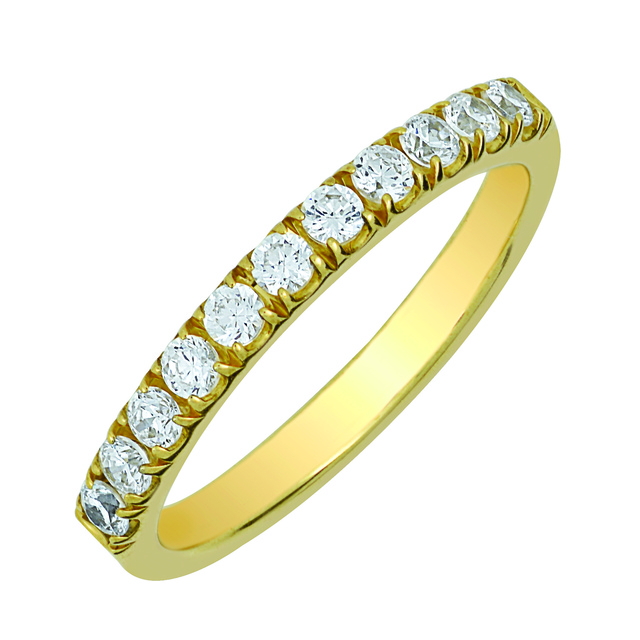 MACHINE SET 4 PRONG DIAMOND BAND WITH 15 DIAMONDS