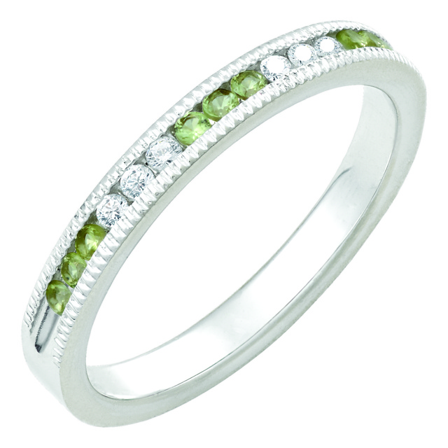 6 Diamond And 9 Peridot Machine Set Band With Milgrain