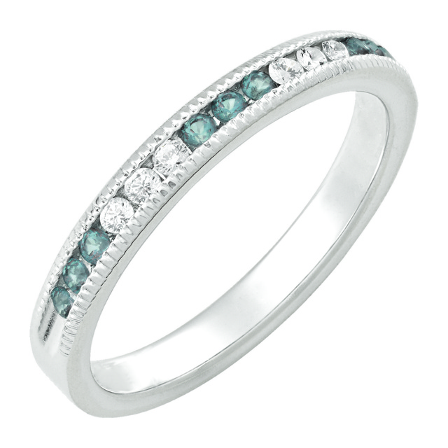 6 Diamond And 9 Aquamarine Machine Set Band With Milgrain