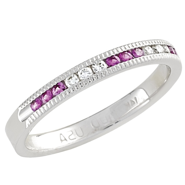 6 Diamond And 9 Pink Sapphire Machine Set Band With Milgrain
