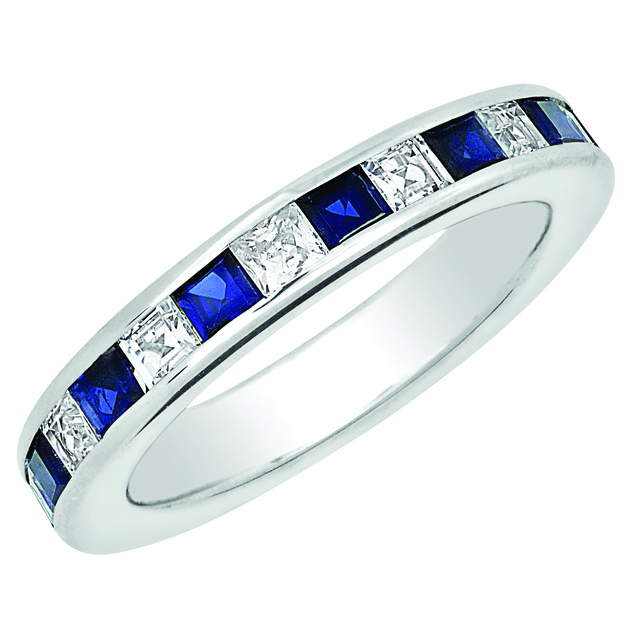PRINCESS CUT CHANNEL SET MACHINE SET ETERNITY BAND WITH SAPPHIRES AND DIAMONDS