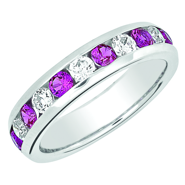 CHANNEL SET MACHINE SET ETERNITY BAND WITH RUBIES AND DIAMONDS