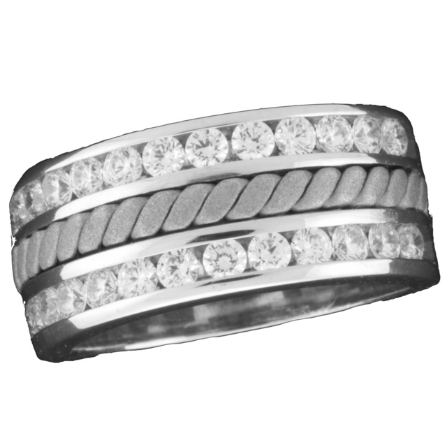 Double Row Machine Set Channel Diamond Ring With Rope