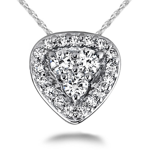 DIAMOND HALO PENDANT WITH CLUSTER CENTER