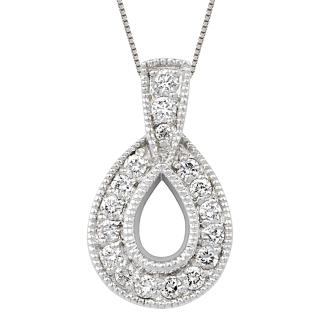 Pear Shaped Semi Mount Pendant With Small Diamonds
