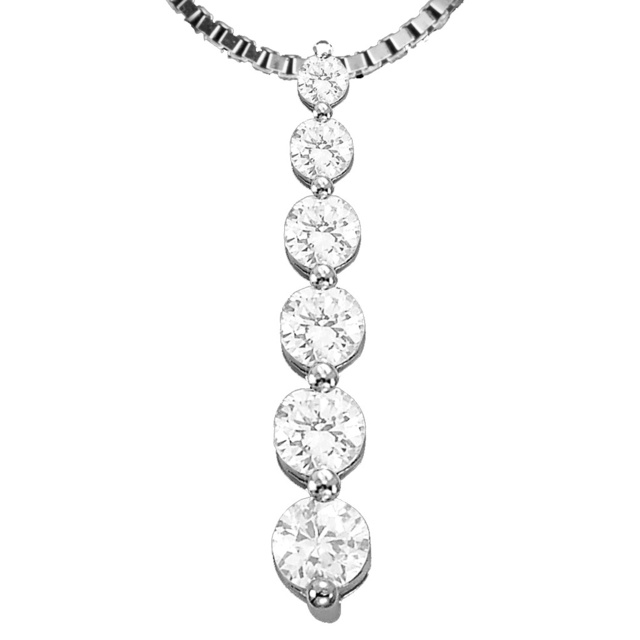 6 Diamond Shared Prong Journey Pendant