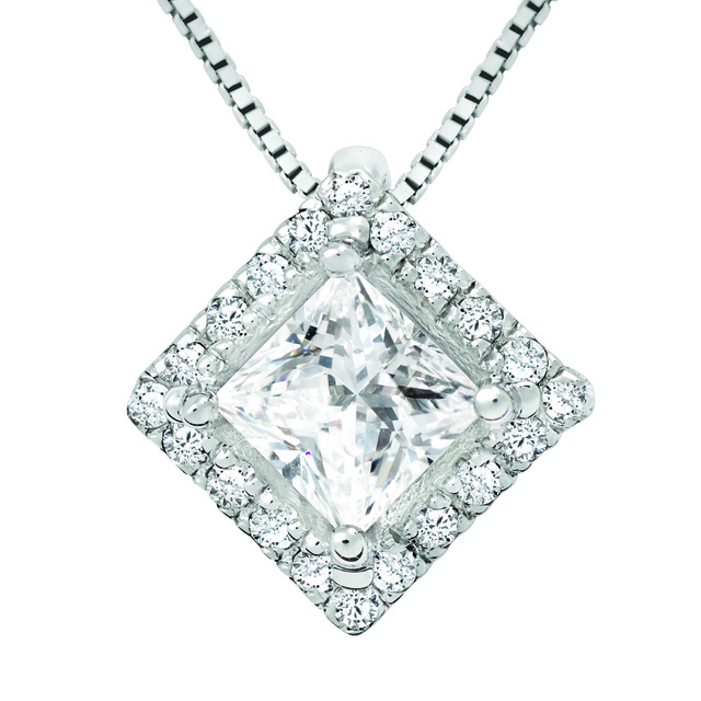 PRINCESS CUT DIAMOND HALO PENDANT SEMI MOUNT